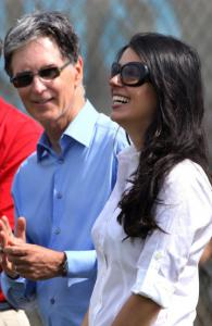 Red Sox owner John Henry and wife Linda Pizzuti attend the team&#8217;s workout.