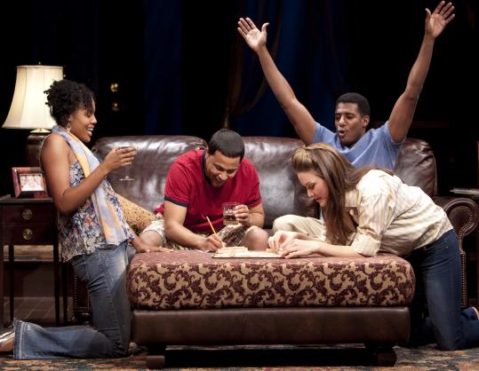 "From left: Nikkole Salter, Jason Dirden, Billy Eugene Jones, and Rosie Benton in the Huntington Theatre Company's production of Lydia R. Diamond's ""Stick Fly.''"