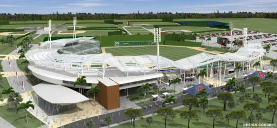 A preliminary design of the Sox' spring digs for 2012 - complete with Fenway dimensions and a replica Green Monster.