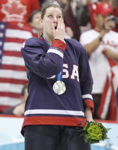 Angela Ruggiero wiped away tears during the medal ceremony after she and her American teammates lost to Canada.