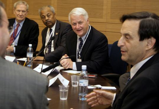 Representative William Delahunt (second from right) met with Deputy Prime Minister Dan Meridor (far right) of Israel during his recent visit to Israel.