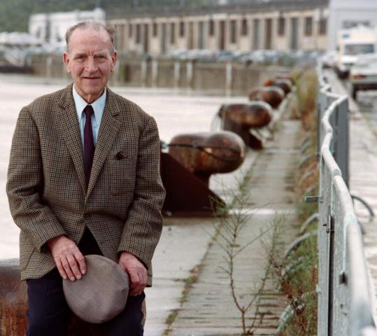 Henri Salmide at the port of Bordeaux in 1994. He was a junior officer in the German Navy during World War II when he defied superiors and blew up the city's munitions depot.