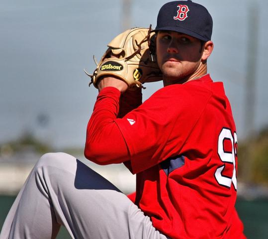 Red Sox pitching prospect Casey Kelly faced three hitters in batting practice yesterday.