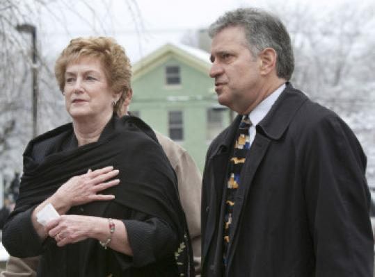 THOMAS CAIN/ASSOCIATED PRESS Governor M. Jodi Rell and Mayor Sebastian Giuliano of Middletown attended the memorial service yesterday.