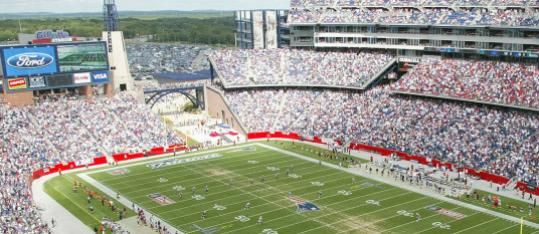 Corporate cash helped Hopkinton build athletic fields at EMC2 Park after the town took a tip from sports and entertainment venues like TD Garden, Gillette Stadium (above), and the Comcast Center.