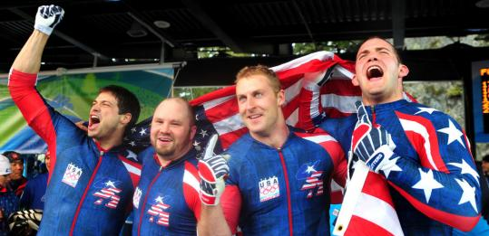 Steve Mesler, Steven Holcomb, Curt Tomasevicz, and Justin Olsen are stars in stripes.