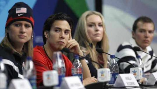 Americans (from left) Angela Ruggiero, Apolo Anton Ohno, Lindsey Vonn, and Bill Demong joined forces in Vancouver.