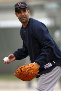 "Manager Terry Francona said Mike Lowell (above), normally a third baseman, looked ""pretty good'' at first base yesterday."