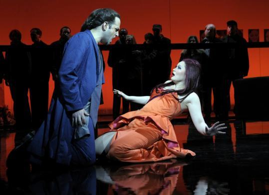Peter Tantsits as Xu Xian and Ying Huang as Madame White Snake in the Opera Boston production.