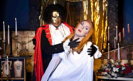 Andre 'Afrodite' Shoals (left) and Varla Jean Merman in the Gold Dust Orphans' production of 'Phantom of the Oprah,' a musical by Ryan Landry.