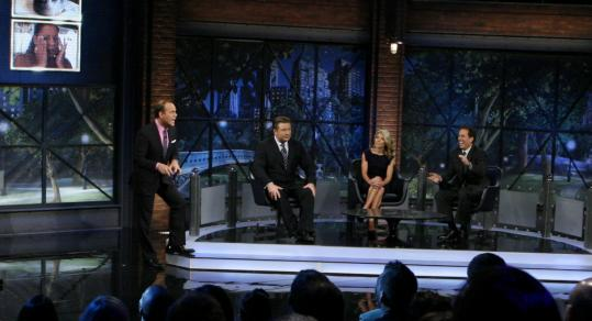 "Host Tom Papa (left) with the panel for the first episode of ""The Marriage Ref'': (from left) Alec Baldwin, Kelly Ripa, and Jerry Seinfeld."