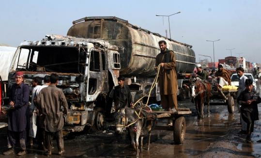 This oil tanker, part of a convoy attacked by alleged militants in Pakistan, was carrying fuel to NATO forces in Afghanistan.