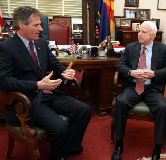 Newly elected Senator Scott Brown met with Senator John McCain of Arizona in January while making the rounds in Washington. McCain, under fire from the right, is reaching out to Brown.