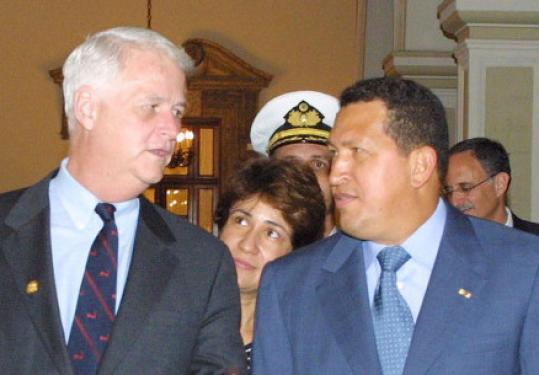 Bill Delahunt and Hugo Chavez in Caracas, Venezuela in 2002.