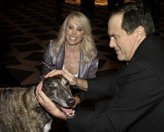 Linda Holliday and Bill Belichick at the Celebration of Greyhounds event at the Liberty Hotel.