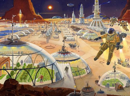 """In 1999, Robert T. McCall imagined a """"Mars Metropolis,'' using oil on canvas. He also designed more than a dozen postal stamps."""