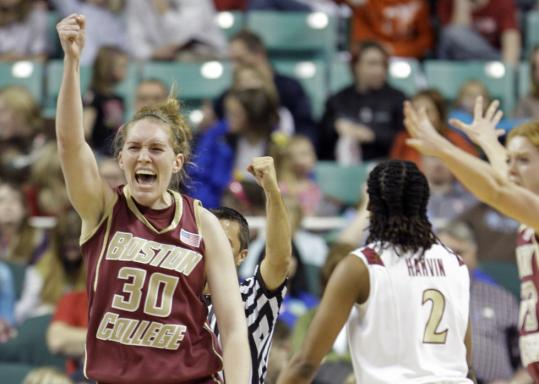 Carolyn Swords gets the call from the ref in BC's 67-60 upset of Florida State.