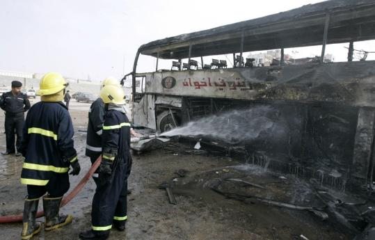 A car bomb targeted Shi'ite pilgrims in the holy city of Najaf yesterday, killing at least three people and wounding more than 50. Though overall violence is down, insurgents have threatened voters in the run-up to today's parliamentary elections.