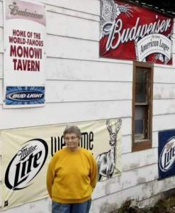 Elsie Eiler, the sole resident of Monowi, Neb., outside the bar and grill she owns in the town.
