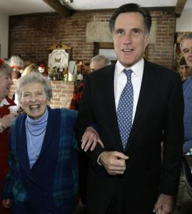 Gale Thomson was escorted by Mitt Romney during a presidential campaign event in Orford, N.H., in 2007.