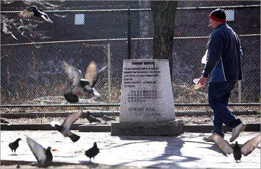 A memorial to the Tiananmen Square uprising sits in a quiet park in Chinatown; its future there is murky.