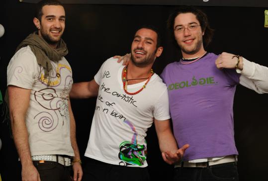 ED ZILBERMAN Three Suffolk grads (from left: Jaime Bucay, Moy Romano, and Mark Grignon) turned their senior project of making T-shirts with socially aware designs into a business.