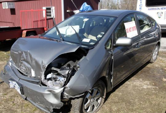 The driver of this 2005 Toyota Prius escaped injury Tuesday but told police