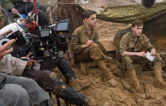 Rami Malek and Joe Mazzello filming a scene for 'The Pacific.''