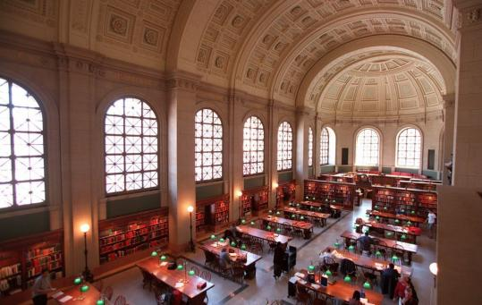 A cultural jewel: The Bates Hall Reading Room at the Boston Public Library.