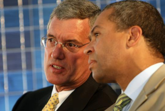 Evergreen CEO Richard Feldt and Governor Deval Patrick talked during a ribbon cutting at the company's Devens facility in 2008.