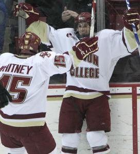 Joe Whitney and Brian Gibbons have provided a nifty 1-2 punch for Boston College this season. The second-seeded Eagles host No. 7 seed Massachusetts tonight.
