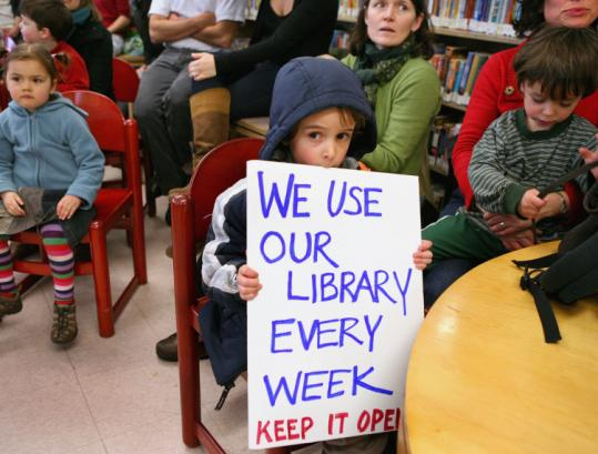 Romeo Pelletier, 5, was among those who turned out at a rally in Roxbury to support the Egleston Square library, which has among the smallest circulation of any branch in the city.