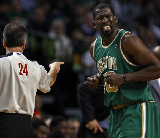Celtics newcomer Michael Finley doesn't appear to agree with a first-half foul called on him, but most everything else went right for him last night.