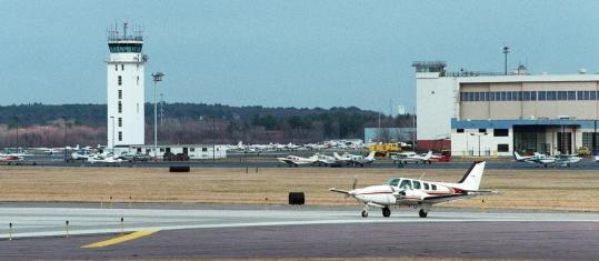 The bulk of the airplane traffic at the Hanscom airfield is corporate jets that ferry executives on business calls.