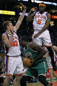 Bill Walker (5) played 23 minutes against Kendrick Perkins and the rest of his former Celtic teammates last night.
