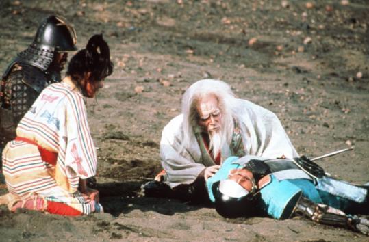"Tatsuya Nakadai (right, with beard) plays Lord Hidetora in Akira Kurosawa's adaptation of ""King Lear.''"