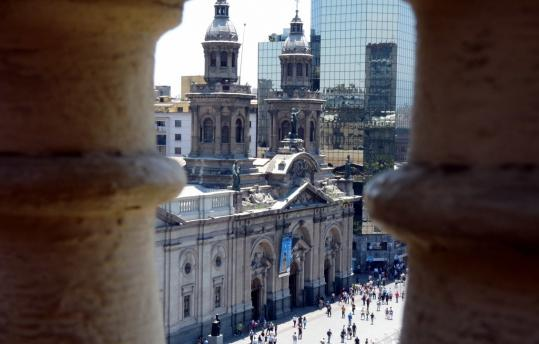 The Plaza de Armas in Santiago. The metropolitan area of more than 7 million people suffered fires and blackouts, but most of the quake damage was on the coast closest to the epicenter.