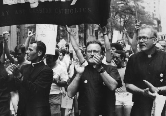 The Rev. Robert Carter (right) was among a group leading a New York gay pride march in the 1980s.