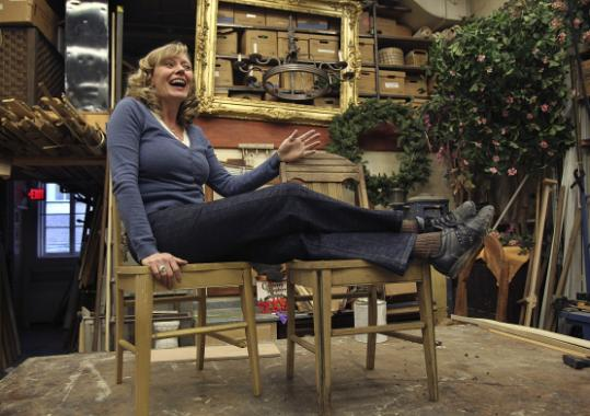Kristine Holmes is right at home backstage as the Huntington Theatre troupe prop master.