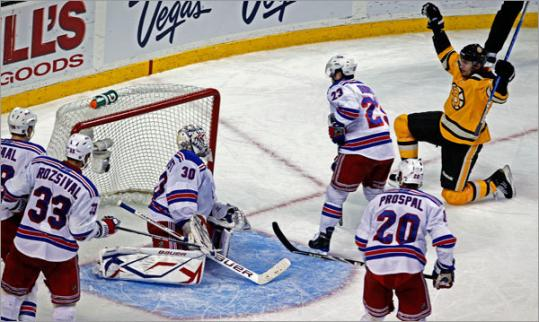Miroslav Satan beat Rangers goalie Henrik Lundqvist in the second period for the Bruins' first goal on Sunday.