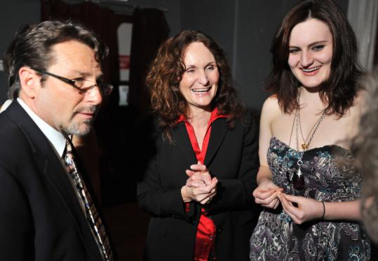 Actress Beth Grant (center) and her daughter, actress Mary Chieffo, with Dr. Ken Marsh of Needham last night.