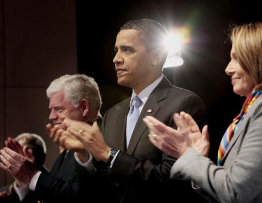 President Obama met with House Democrats in Washington Saturday, including Representative John B. Larson of Connecticut and House Speaker Nancy Pelosi of California.