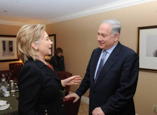 Secretary of State Hillary Rodham Clinton and Israeli Prime Minister Benjamin Netanyahu spoke yesterday in Washington.