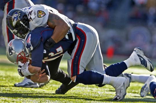 The lingering memory of 2009? Tom Brady and the Patriots getting clobbered by Ray Lewis and the Ravens in the playoffs.