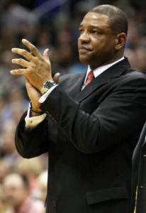 Doc Rivers has some mock applause for the referees after being ejected last night.