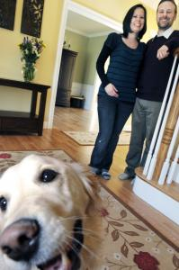 Jessica and Christopher Snow and their dog, Maisie, have settled into their new home in Groton, after ruling out anything larger than 3,000 square feet as excessive.