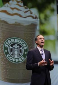 Starbucks chief executive Howard Schultz said the chain is back in business.