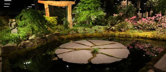 One of the landscape exhibits that brims with recent cultivars at the revived Boston Flower & Garden Show now at the Seaport World Trade Center.