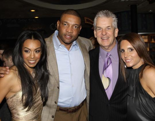From left: Brandi Garnett, Celtics coach Doc Rivers, Lenny Clarke, and Tiffany Ortiz at the House of Blues last night.