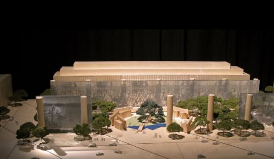 "Metal ""tapestries'' would adorn the Eisenhower memorial, a model of which was unveiled yesterday in Washington."